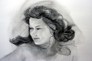 Portrait of Women, Josie head,  19x28 charcoal on Canson paper.  Women Painting Women