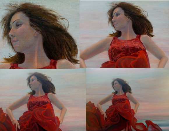 Flaming Jade coming to the finish, contemporary art, underwater figurative painting by Deborah Chapin